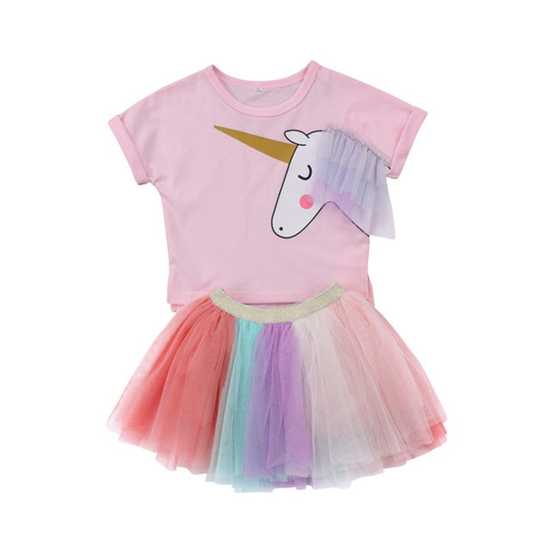 Girl Dress 2018 New Summer Casual Style Cartoon Unicorn T-Shirts+Colorful Veil Dress 2Pcs Girl Party Dress