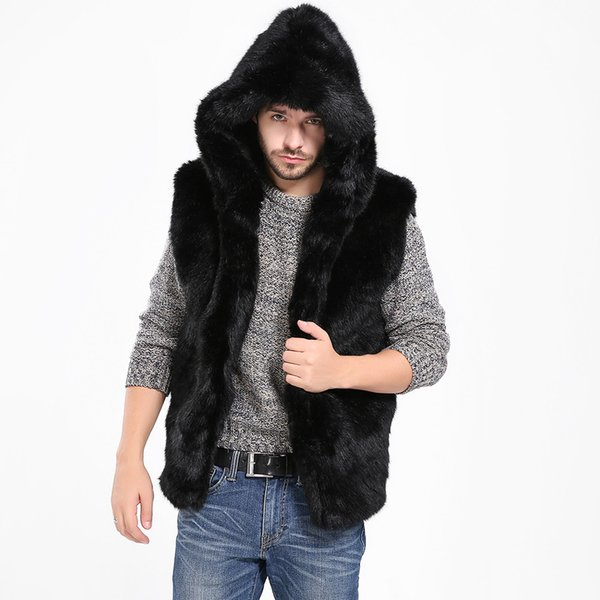 Men Spring Winter Faux Fur Vest Jacket Sleeveless Winter Body Warm Coat Hooded Waistcoat Gilet Gift