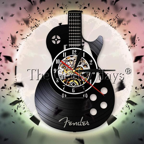 Akustische Gitarre Vinyl Record Wanduhr Musikinstrument Rock N Roll Decor Wand Uhr Gitarrist Uhr Musik Liebhaber Geschenk