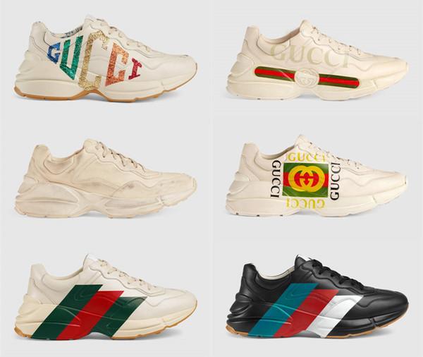 Rhyton Designer Shoes Sneaker Luxury Boots in pelle scarpe papà geninue in pelle taglia us5-us10 con scatola recept