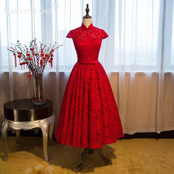 MANYUNFANG Vintage Great Hot Red High Neck Short Prom Formal Dresses with Lace Cover Whole Back Capped Sleeves Cocktail Party Occasion Gown