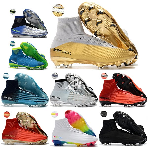 official photos 36fcf 218c3 New Mens High Ankle Football Boots Cristiano Ronaldo Cr7 Mercurial Superfly  V Neymar Fg Soccer Shoes Superfly 5 Acc Outdoor Soccer Cleats Youth Boots  ...