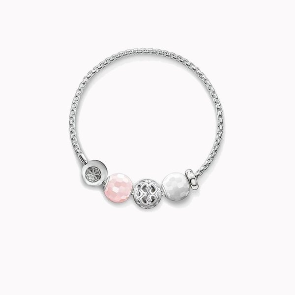 Silver Link Chain Bracelets with Pink & White Crystal Bead Heart to Heart Karma Beads, DIY Beads Bracelet Jewelry For Women Men