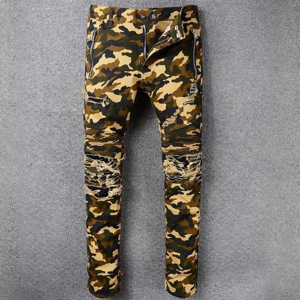 Acquista Jeans Da Motociclista Mimetici Jeans Da Moto Skinny Classici Da Uomo Di Alta Qualità Con Cerniera Pantaloni Da Hip Hop Slim Fit Con Zip E