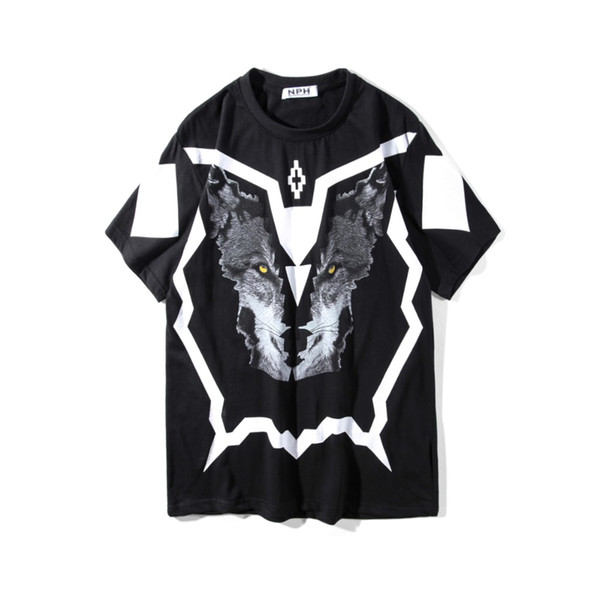 2018SS NEW TOP Summer Marcelo Burlon 3D Wolf head print Men t shirt Hip hop Fashion Casual Cotton T-shirts tee black S-XXL
