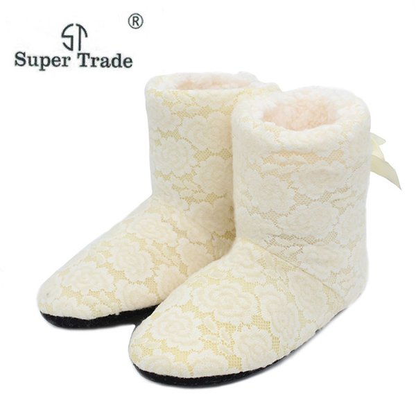 Winter Cotton Slippers High Quality Openwork Lace Women Home slippers Soft-Soled Women Shoes COZY-94