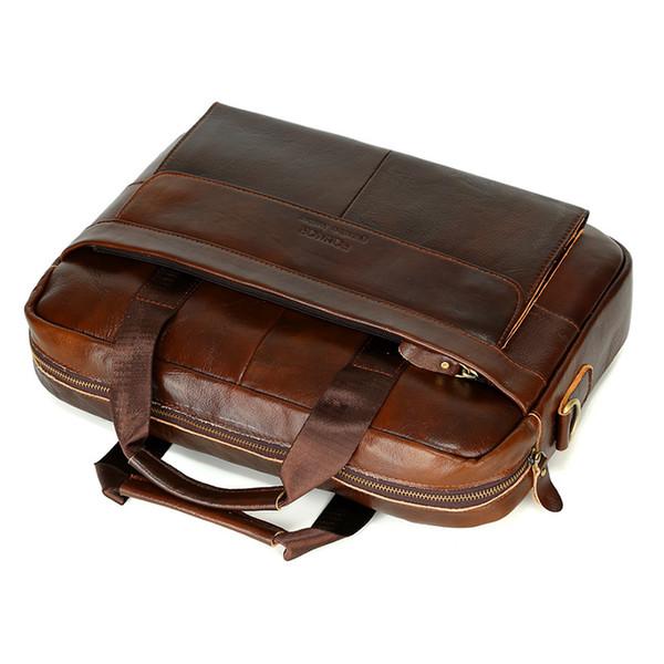 Neue Männer Aktentaschen Echtes Leder Handtasche Vintage Laptop Aktentasche Messenger Schultertasche Herren Tasche