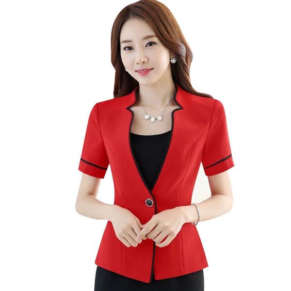 mulheres verão novo magro formais blazer moda gola senhoras de escritório jaqueta de manga curta, mais trabalho tamanho visto o vermelho preto