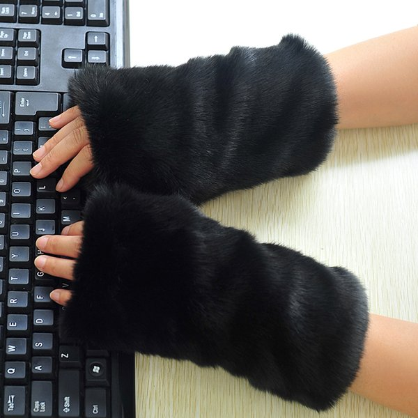 High-quality Women's Knitted Imitated Rex Rabbit Fur faux Winter Fingerless Gloves Mittens Arm Sleeve AD044