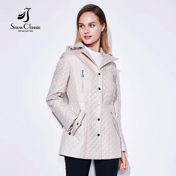Großhandel SnowClassic 2018 Frühjahr Sommer Mode Jacke Damen Mantel Windbreaker Europäischen Design Reißverschluss Taschen Revers Rosette Von