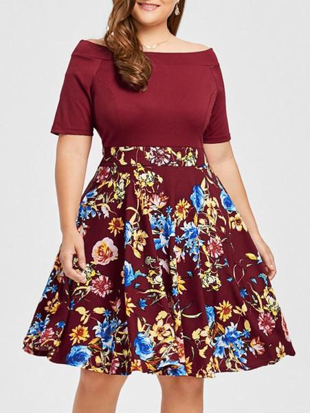 Women Flower Print Dress Off Shoulder Ball Gown For Fat Lady Hot Sale European Plus Size One Piece Dress XL-5XL