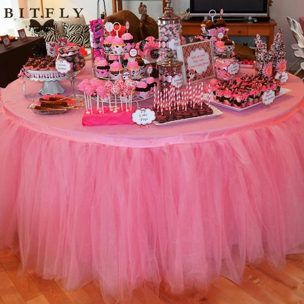 100 * 100 cm Weihnachtsdekor 100% Polyester Tüll Tisch Rock Für Hochzeit Geburtstag Baby Brautduschen Parteien Tutu Party Supplies