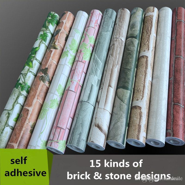 Wholesale- 0.45*10m PVC Self Adhesive Wallpaper Roll do not need glue wall paper 3d brick stone decorative wallpaper for walls
