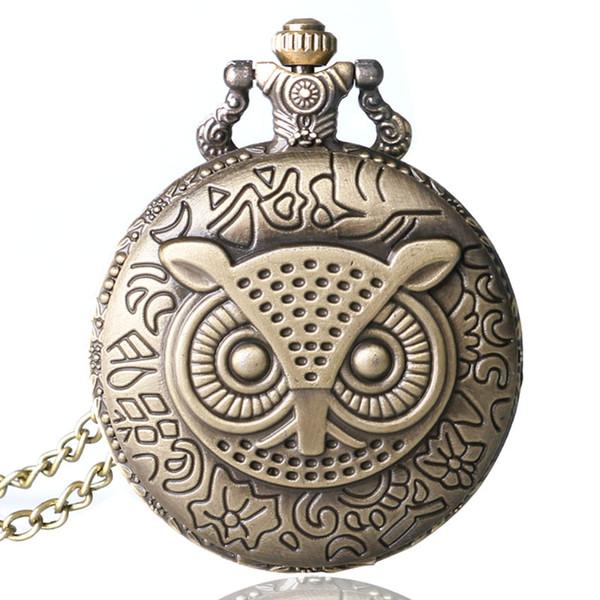 빈티지 포켓 시계 올빼미 패턴 석영 남자의 선물 레트로 청동 시계 줄은 여성을위한 귀여운 relogio de bolso