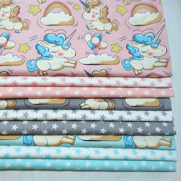 Unicorn cartoon print 100%cotton Fabric by the yard for kids bed sheets baby Quilt cover pillowcases 10yards/lot tomo181