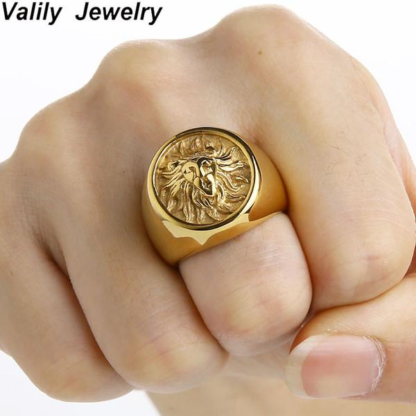 Valily Männer Ring Punk Gold Lion Ring 316L Edelstahl Biker Runde Tier Ringe Schmuck Party Power Design hohe Qualität Juwel