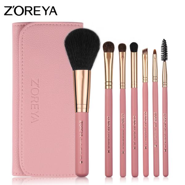 ZOREYA bilden Bürsten-Pony-Haar-Kosmetik-Satz der Bürsten-7pcs mit Ledertasche als grundlegende grundlegende Make-upbürsten-Ausrüstung der Mode-Frau