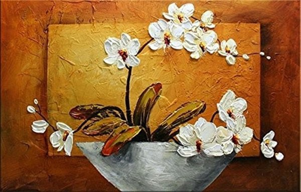 Large Modern Home Decoration Wall Art Picture Hand-painted Knife Floral Paintings Handmade White Flower Oil Painting on Canvas