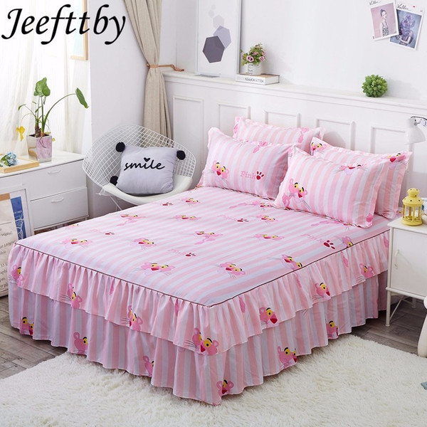 Sale Cartoon Pink Panther Pattern Non-slip Bedding Set Bed Skirt Pillowcase 3pcs Fit Adult Large Bed Linen Lace Bedspread