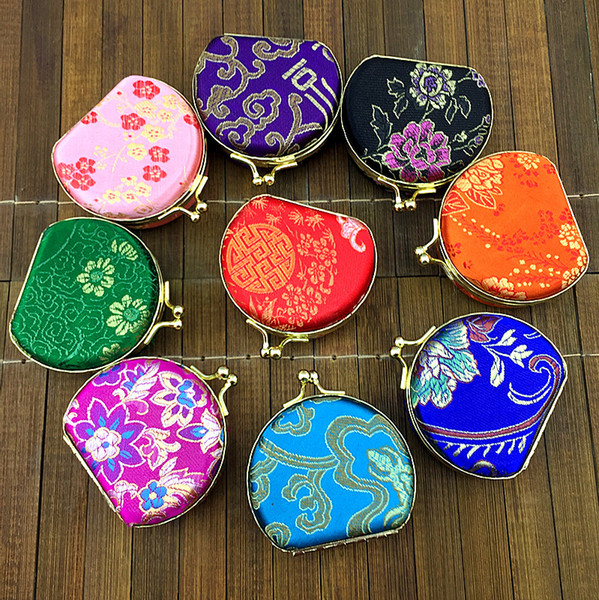 Mirrored Semicircle Small Box for Travel Jewelry Set 2Pcs Gift Box Multi Ring Necklace Storage Case Silk Brocade Colorful Packaging