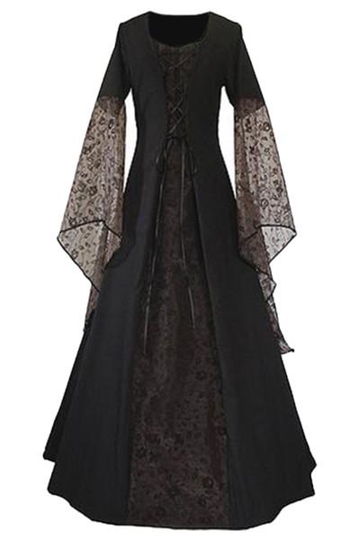 Ренессанс Средневековые Женщины Кружева Платье Старинные Платья Длиной До Пола
