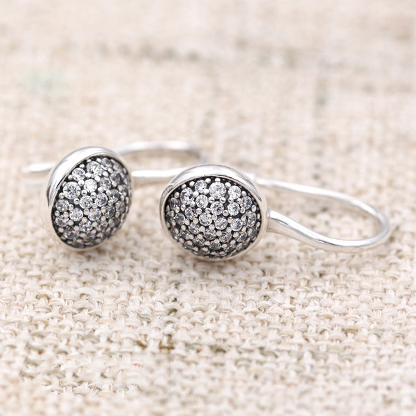 925 Sterling Silver Earring Dazzling Droplets With Crystal Hanging Studs Earring For Women For Wedding Gift Europe Jewelry