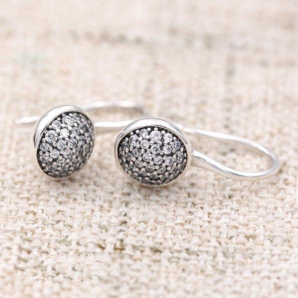 925 Ayar Gümüş Küpe Göz Kamaştırıcı Damlacıkları Ile Kristal Asılı Çiviler Küpe Kadınlar Için Düğün Hediyesi Için Avrupa Takı