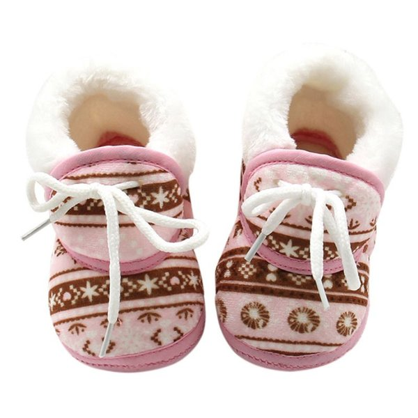 Fashion Children Winter Warmer Vintage Pattern Shoes Fleece Toddler Kids Boy Girls Soft Cotton Lace Up Kids Shoes 6-12M F