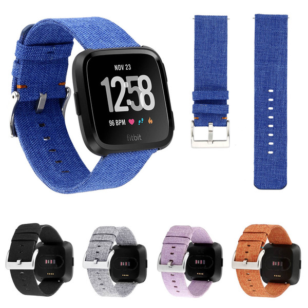 Woven Fabric Strap w Classic Metal Buckle For Fitbit Versa Watch Band Bracelet Watchbands Replacement Wristbands with Connectors