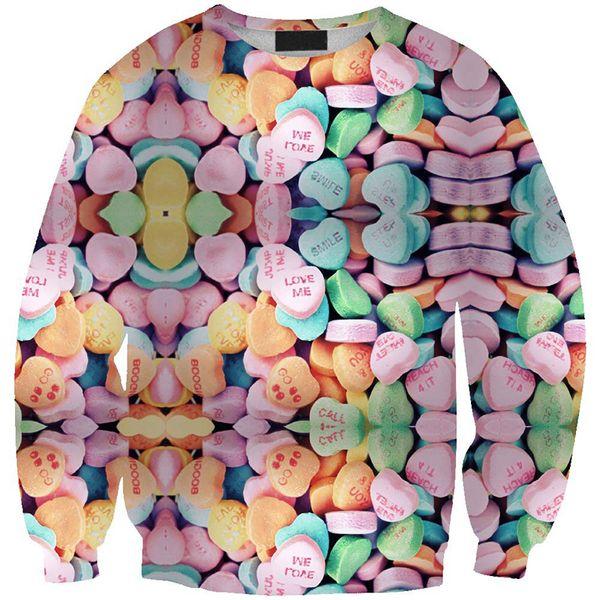 Women Sweatshirt Love Heart Candy Sweets 3D Full Print Girl Free Size Stretchy Casual Hoodies Lady Long Sleeves Tops Sweatshirts (RLSws0295)