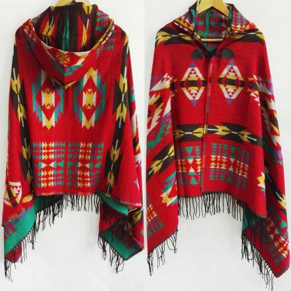 Ethnique Multifonction Bohème Châle Écharpe Tribal Fringe Hoodies Veste rayée Cardigans couvertures Cape châle Géométrique Poncho avec des glands