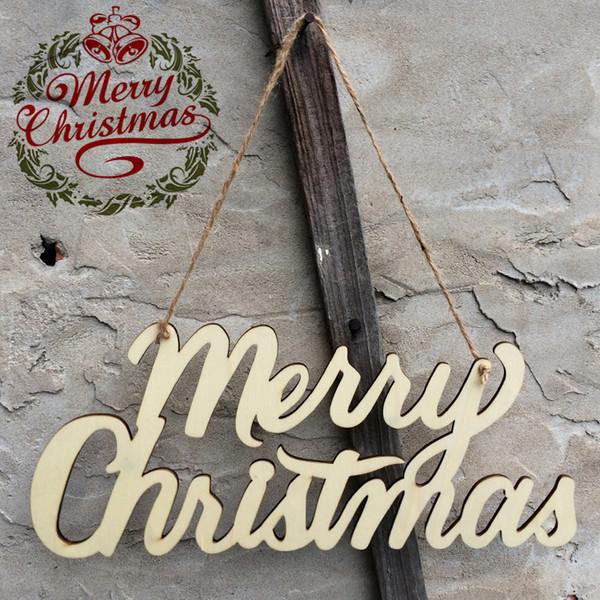 Casarse con adornos de Navidad decoraciones de Navidad de madera colgante de letras de madera colgante de pared signo placa decoración del hogar (multicolor)