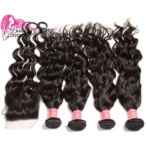 Beauty Forever Virgin 8A Brazilian Natural Wave 4 Bundles With Closure Free Part Human Hair Extension Remy Hair Weave With Lace Closure Sale