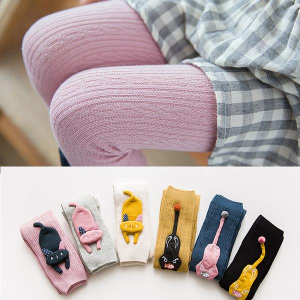 Cartoon Knitting Girls Leggings Otoño Invierno Outfit Niñas Render Pantalones Niños Ropa Niños Leggins Warm Wear Trousers