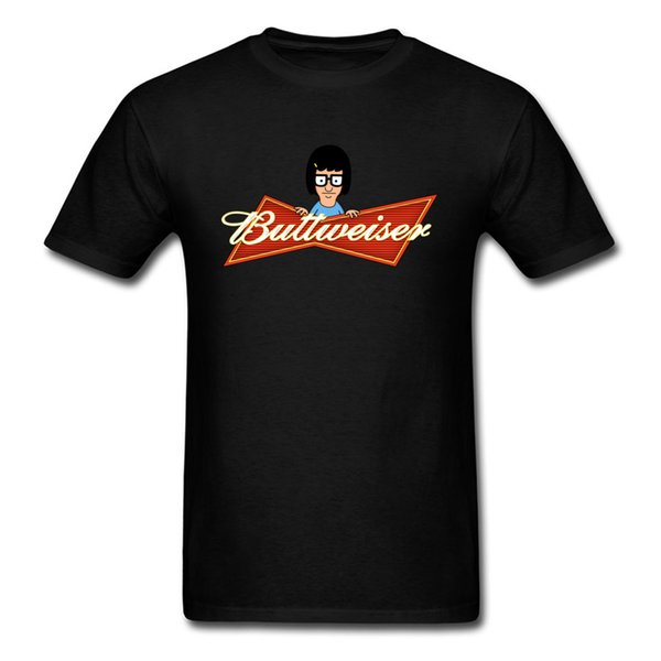 Buttweiser T Shirts Men Funny Tops Tees Design Cartoon T Shirt For Students Beer Lover Tshirt Cotton Clothing Black