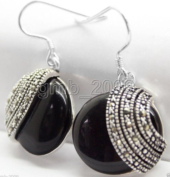 handmade 925 Sterling Silver 18*18mm nature black Natural Stone Beads Marcasite Earrings