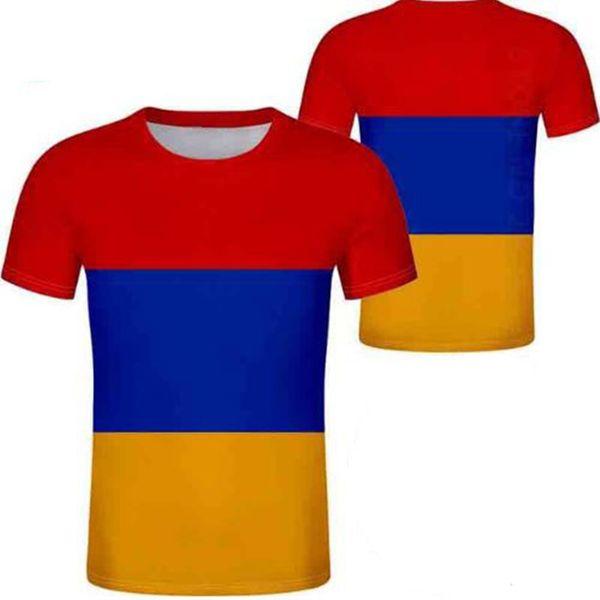 Армения футболка бесплатно на заказ имя номер фото белый серый красный черный тройники рука страна футболка Армянский национальный флаг am одежда