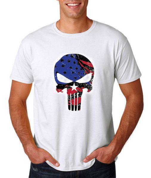 Punisher Crânio T-shirt, Branco S-3xl, Bandeira Americana Sniper Guerra Herói Exército Fuzileiros Navais Coisas Estranhas T Shirt 2017 Novo