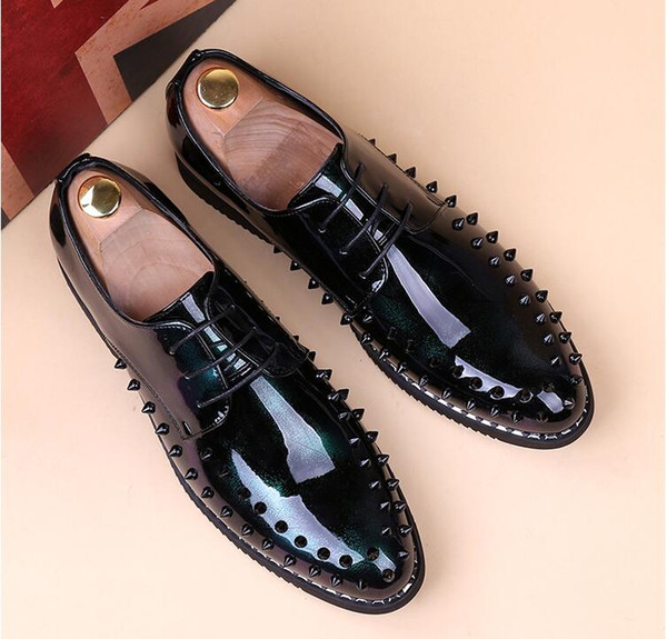 New Luxury Men's Fashion gold Casual Shoes Gold black green Glitter Leisure Slip on Rivets Loafers Shoes Man Party Weeding Dress Shoes AX732