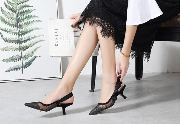 Luxury Rhinestone Heel Brand Pointed toes Designer Slingbacks Pumps Women Lace Sandals High Heels Ladies Shoes Elegant black banquet shoe