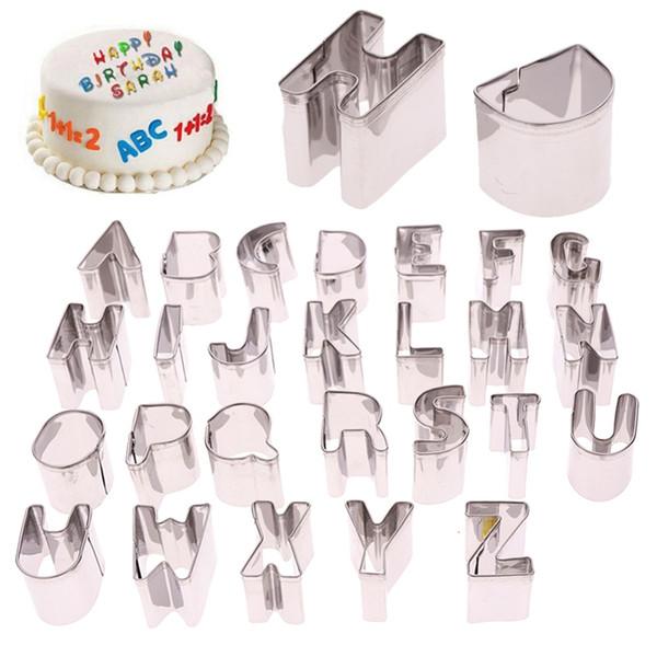Kitchen DIY 26 Pcs/Set Cake Cutter Alphabet Letters Shape Mould Fondant Cookie Biscuit Mold#259103