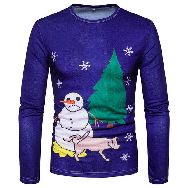 Sunfree Man Blue Snowman Casual Blouse Christmas Main Product Quality Pullover Worth Having Hot Selling Fashion Tops 3L60