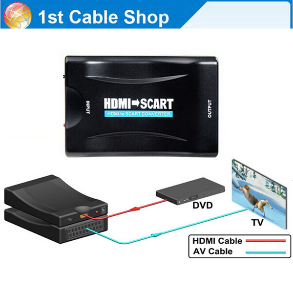 Wholesale-HDMI to Scart AV converter adapter HDMI in Scart out supports up to 1080P/60hz HDMI input(video+audio supported over scart)
