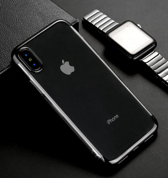 Hot!New Design 10pcs Phone Case For iPhone 8 7 Plus Electroplating Airbag Edge Cases For iPhone X 7 6 6S Plus Clear TPU Silicone Back Cove