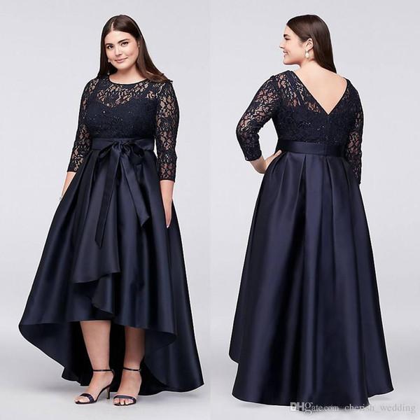 Plus Size High Low Prom Dresses con maniche lunghe con fiocco V Back Sheer Jewel collo pizzo abiti da sera A-Line economici Short Party Dress