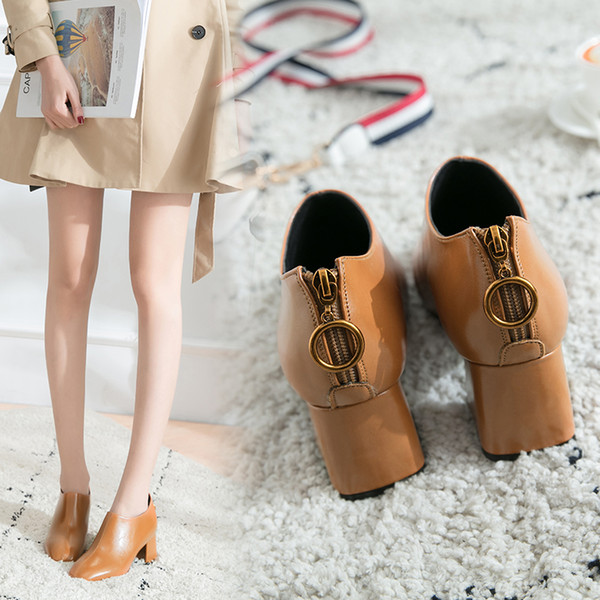 Elegant fashion ladies high chunky Heel Short Boots Womens single Shoes Girls Shoes Ankle Boot pointed toes Cool Martin Boots Fast Shipping