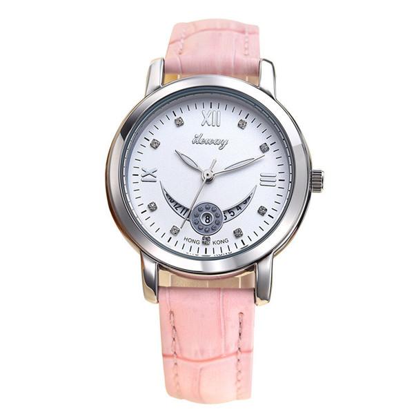 Fashionable personal watch waterproof students quartz watch 3 type Women casual wristwatch luxury ladies dresses leather band Clock