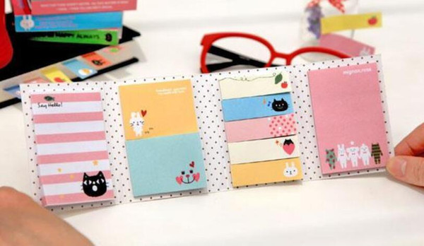 top popular Notes Notepads Hot 180 Pages Sticker Mini Animal Sticky Notes 4 Folding Memo Pad School Stationery 2020