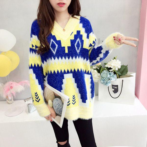 Großhandel Mode Winter Frauen Geometrische Pullover Lässige Damenbekleidung Weiblichen V Ausschnitt Langarm Gestrickte Lose Mohair Weiche Pullover Von