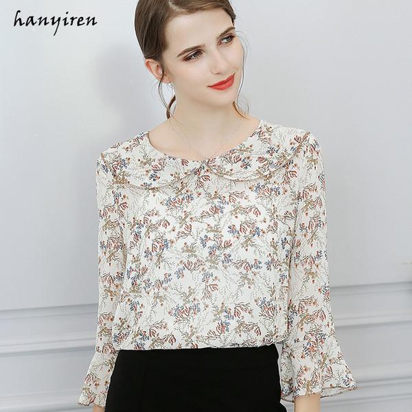 Hanyiren Women Vintage Floral Print Casual Flare Sleeve Chiffon Camicette Camicie da lavoro da ufficio Plus Size blusas femininas elegante